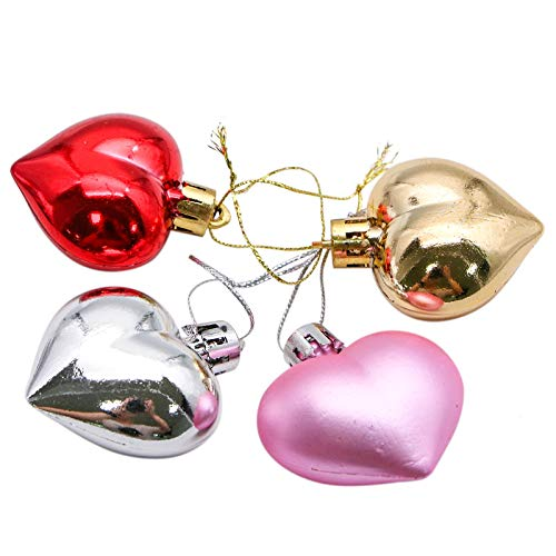 WSSROGY 24Pcs Christmas Heart Ornaments Heart Shaped Christmas Tree Baubles for Christmas Holiday Party Decor -