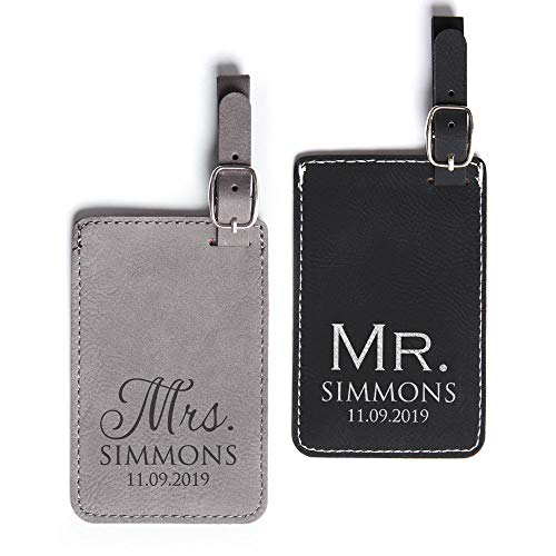 Pair (2) Personalized Mr. & Mrs. Luggage Tags - Personalized Vegan Leather Mr. Mrs. Wedding Gift Luggage Tag with Names (Black & Gray)