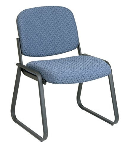Office Star Deluxe Sled Base Fabric Visitors Chair with Designer Plastic Shell Back, Cadet ()