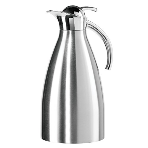 Oggi Allegra ( 2.1 Liter/ 68 Oz. ) Thermal Vacuum Carafe with Press Button Top and Stainless Steel Liner- Stainless