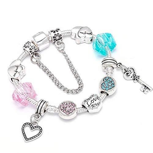 Lishfun Romantic DIY Charm Bracelet Heart Key Pendant Beads Fine Bracelet for Women Couple Jewelry, R002,20cm