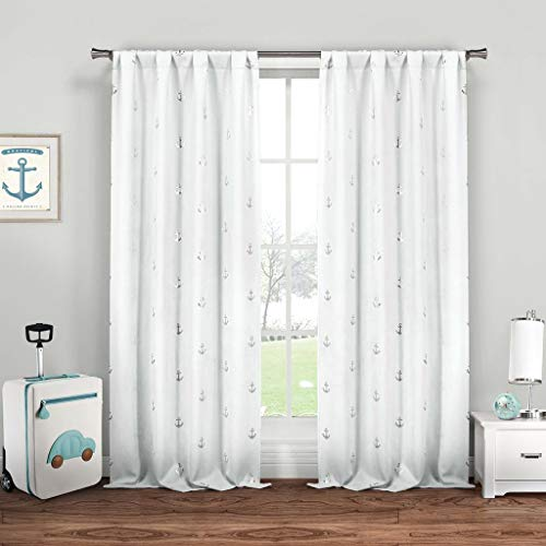 - Lala + Bash Ahoy Nautical Pole Top Window Curtain 2 Panel Drape Set, 37 X 84, White & Silver