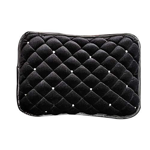 YUSHHO56T Car Armrest Box Pad Car Seats Accessoires Cushion Plush Rhinestones Winter Car Vehicle Central Armrest Box Cover Pad Soft Cushion - Black from YUSHHO56T