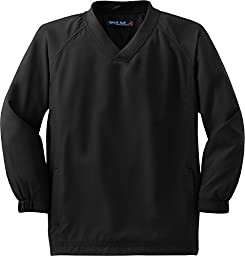 Sport-Tek - Youth V-Neck Raglan Wind Shirt. YST72 - Black YST72 M