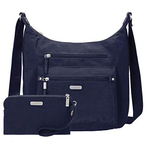 Baggallini Day Trip Everyday Hobo Handbag, RFID Wristlet, Bundle with complimentary Travel Earphones (Navy)