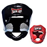 Twister Competition Boxing Head Guard Maya Hide Leather Muay Thai MMA Sparring Head Protection Headgear Without Cheeks (L/XL)