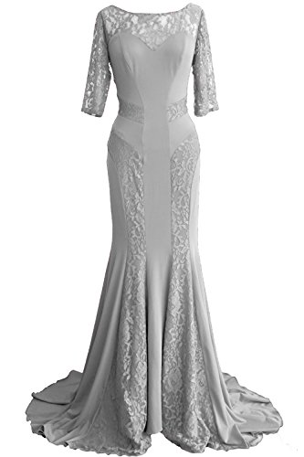 MACloth Women Mermaid Half Sleeve Lace Mother of Bride Dress Formal Evening Gown Plateado