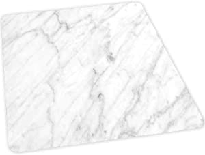 """Home Office Chair Mat, Carrara Marble Tile Surface Organic Sculpture Style Granit, 30"""" x 47"""" Hard Floors Protector Rectangle, Office Chair Mats for Hard Surfaces, Dust Grey White"""