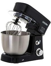 MESKO MS 4217 matberedare, knådmaskin med 3,5 l skål av rostfritt stål, 6 hastigheter, knådningskrok, omrörningsvisp, 1200 W, stänkskydd, omrörare, degmaskin