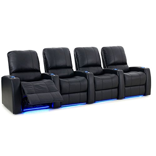 Octane Seating Blaze Xl900 Home Theater Furniture Black Premium Leather   Motorized Recline   Lighted Cup Holders   Baserail   Usb Charger   Straight Row Of 4 Seats