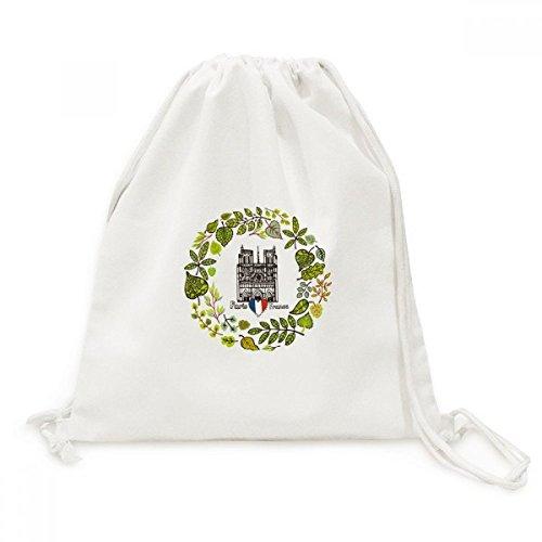 Notre Dame Cathedral Paris France Canvas Drawstring Backpack Travel Shopping - Notre Bag Gym Dame