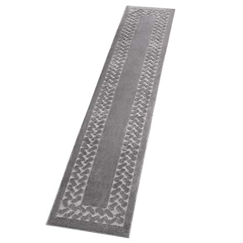 "Collections Etc Herringbone Extra Long Carpet Rug Runner, Grey, 22"" X 90"""