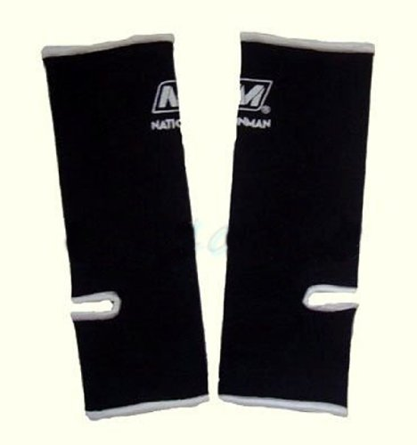 Professional Muay Thai Velcro - Muay Thai Boxing Ankle Wrap Support (NationMan) Black with White Trim