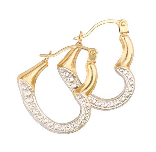 H. Gaventa Ltd - E - 11067 - Boucles d'oreilles créoles Femme - Coeur - Or jaune (9 carats) 0.5 Gr