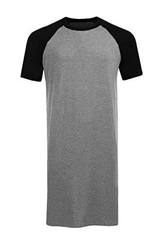 Runcati Mens Sleepshirt Short Sleeve Nightgown Raglan Long Night Shirts Henley Sleepwear - Sleepshirt Long