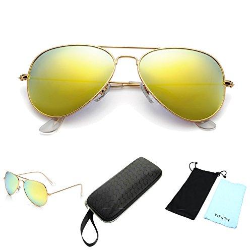 YuFalling Polarized Aviator Sunglasses yellow product image