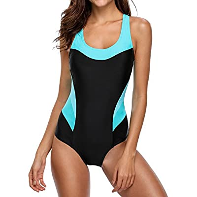 beautyin Women's Pro One Piece Athletic Bathing Suit Color Block Swimsuit: Clothing