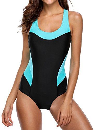 BeautyIn Womens Racerback One Piece Swimsuit Sport Tranning Bathing Suit Swimwear, Black - One Piece Sport Swimsuits