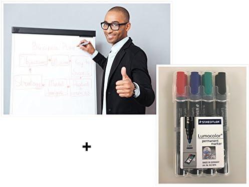 Flipchartblöcke + 4er Set Flipchartmarker, weiß Blanco oder weiß kariert, je Block 20 Blatt 69x99 cm, 6 fach Lochung, perforiert, Papier für Flipchart (5 Blöcke blanko + Markerset 4er)