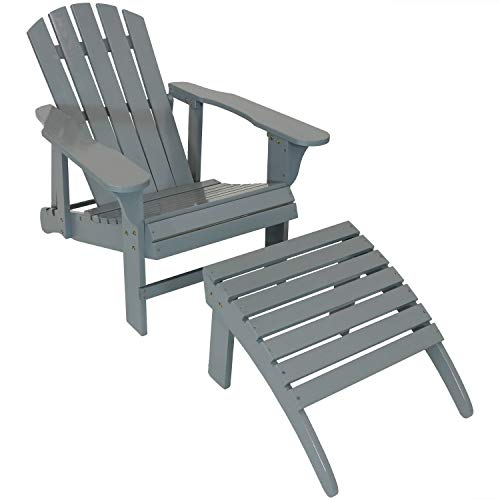 Painted Adirondack Footrest - Sunnydaze Wooden Outdoor Adirondack Chair with Adjustable Backrest and Ottoman Set, 250-Pound Capacity, Gray