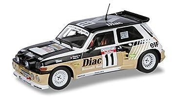 Solido Dickie-Schuco 421180230 Maqueta de Coche de Carreras Renault Maxi Turbo 1985 (Escala 1:18, Rueda Libre), Color marrón y Negro