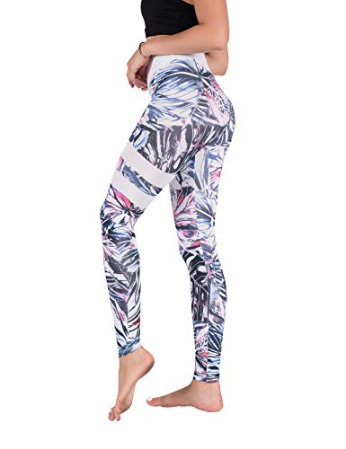 (DrKr Printed Yoga Pants for Women High Waist Workout Running Leggings for Fitness Plant Pink)