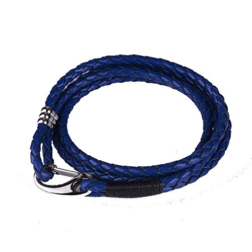 (MERIT OCEAN Braided Genuine Leather Bracelet Set Black Blue Brown Braided Rope Bracelets for Men Women Kids with 2 Vintage 4-Strand Wrist Bracelets Stainless Steel Lobster Clasp Durable)