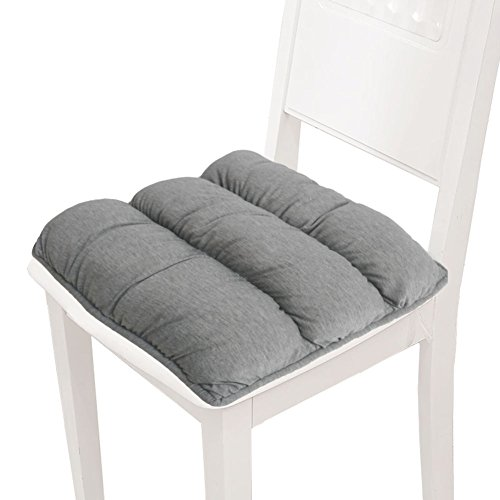 "Big Hippo Chair Pads Square Cotton Chair Cushion Soft Thicken Seat Pads Cushion Pillow for Office,Home or Car Sitting 17"" x 17""(Grey)"