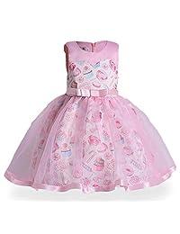 Oukaiyi Little Girls Floral Prints Dress Bow Princess Party Pageant Tutu Dresses