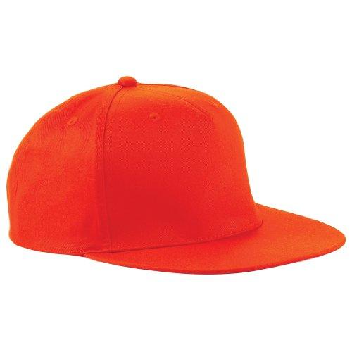Beechfield - Gorra/Visera diseño Rapero/Rapper/Hip Hop/NBA 5 Paneles Modelo Retro Naranja