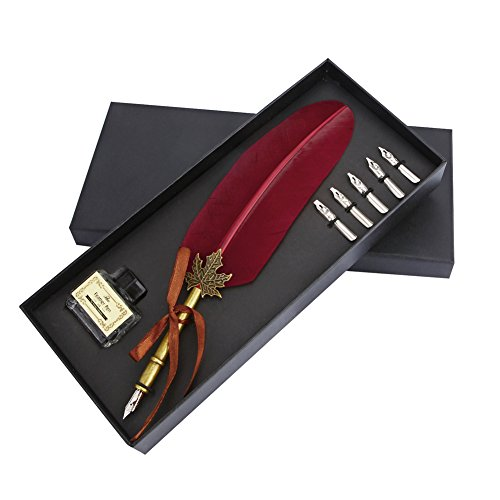 Feather Quill Dip Pen Ink Set -Antique Dip Feather Pen Set Calligraphy Pen Set Writing Quill Ink Dip Pen with 5 Metal nibs (Wine Red)
