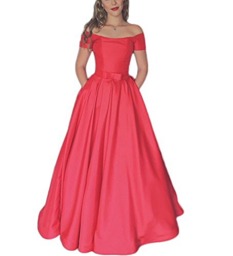 Dresses 2017 Women's A Shoulder DreHouse Quinceanera line Gowns Satin Off Red the Prom Pxx4dw0A