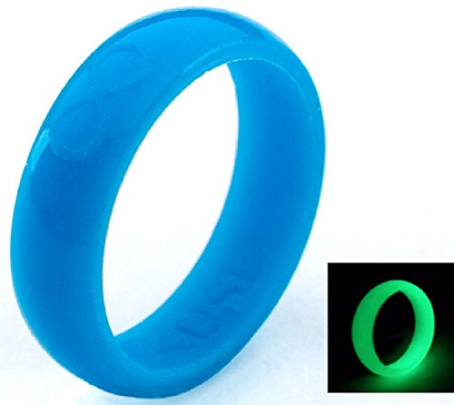 KUSI Infinity Women's Silicone Wedding Ring - Blue - Glow in the - In Dark Steps The Glow