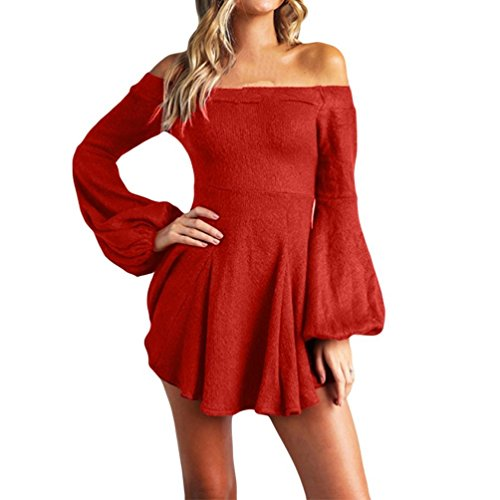 Summer Allentato Shoulder Red Overdose Solid Popular Off Dress Mini Aperto lunga Casual Manica Donna a Autunno Party Back Sexy xwCCqW74Ag
