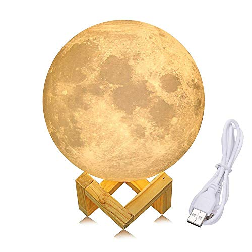 YSBER 3D Printing Moon Lamp, Rechargeable Touch Control, Stepless Dimmable, Baby Nursery, Desk, Bedroom, Home Decor 4.75 Inch White/Yellow