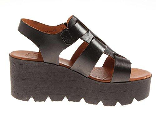 Por M Kathamag Cuero Sandalias con Plataforma Zapatos de verano Mujer dos colores 1522 Negro