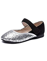 Girls Mary Janes Shoes Glitter Shiny Anti-Slip Casual Dress Ballet-Flats (Toddler/Little Kid/Big Kid)