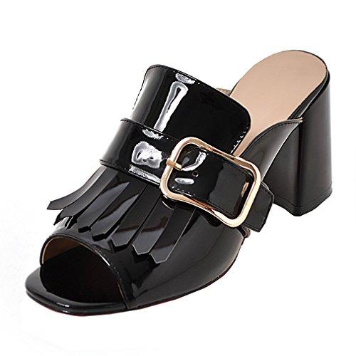 Enmayer Vrouwen Pu Materiaal Peep Toe Kegel Hakken Kwastje Casual Sandalen Hakken Schoenen Zwart