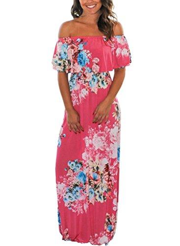 (MIDOSOO Womens Boho Floral Print Off Shoulder Long Maxi Casual Chiffon Beach Party Dress Rosy XL)