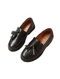 JINANLIPIN Boys Tassel Loafer Shoes Comfort Lightweight Slip-on Dress Shoes for Toddler Kids