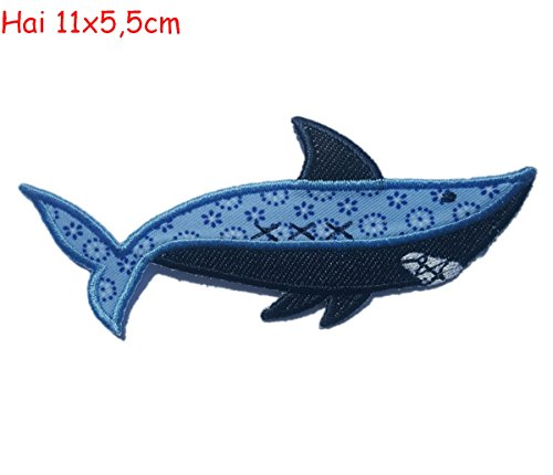 2 iron on patches Shark 11x5,5 and Indian Motiv 7x7cm - embroidered fabric appliques set by TrickyBoo Design Zurich ()