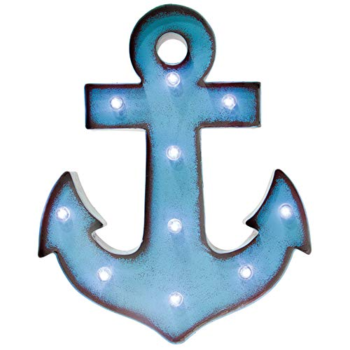 Glitzhome Vintage Marquee LED Lighted Anchor Sign Wall Decor Battery Operated, Blue
