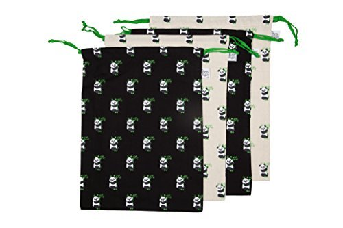 EcoRight Drawstring Shoe Pouch Storage Travel Organizer Bag 100% Cotton Multipurpose Printed Pandas - Pack of 4 (1001S01)