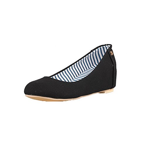 Odomolor Women's Pull-On Round-Toe Kitten-Heels Fabric Solid Pumps-Shoes, Black, 39