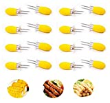 Foxtop Stainless Steel Corn Cob Holders with Silicone Handle - Interlocking Jumbo Corn