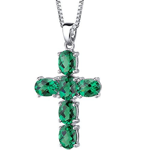 Emerald Religious Cross - 4.50 Carats Simulated Emerald Cross Pendant Necklace Sterling Silver Rhodium Nickel Finish