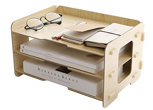 Kusnn Supply 3 Tier Wood Desktop Letter Tray Organizer / Paper Stacking Trays / Filing Organizer / Desk Organizer Tray / Paper Tray / Letter Sorter / Paper File Organizer Tray for Office & Home (Vertical Sorter Plastic)