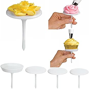 Cake Flower Nail, Grocery House 4PCS Cupcake Icing Cream Decorating Nail Tool Cake Flower Needles, Flower Lifters