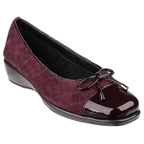 Die flexx Damen Hugees Wildleder/Lapo Schuhe mit Schleife und Steppmuster Merlot