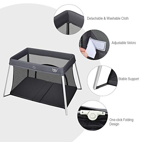 41Ep4qyLWlL - BABY JOY Baby Foldable Travel Crib, 2 In 1 Portable Playpen With Soft Washable Mattress, Side Zipper Design, Lightweight Installation-Free Home Playard With Carry Bag, For Infants & Toddlers (Grey)